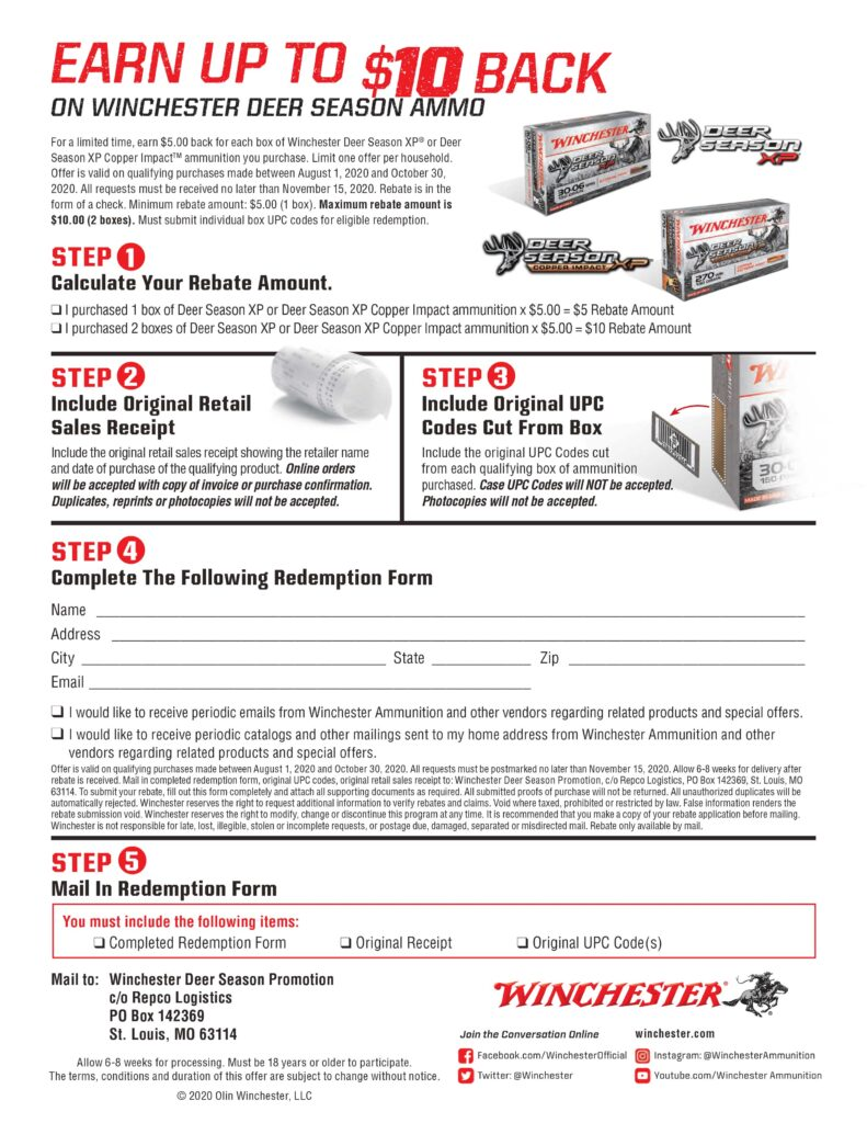 2020 Rebate - Winchester Deer Season 8-1-20 - 10-30-20 Kittles Outdoor Colusa forms