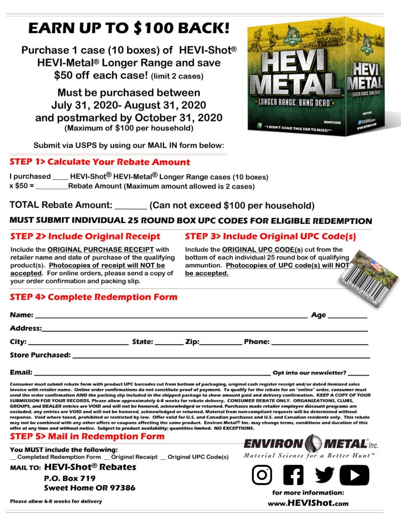 2020 hevi metal LR Rebate Kittles Outdoor Colusa rebate form